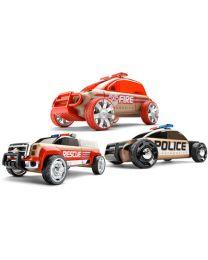 Automoblox - Mini S9 Police / X9 Fire / T900 Rescue - Kreatives Spielzeugauto