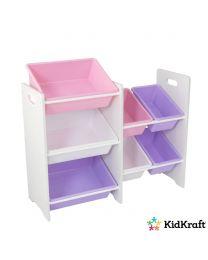 KidKraft - Regal Mit 7 Kisten – Pastellfarben - Weiß
