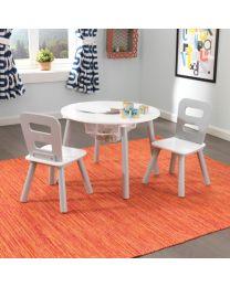 Kidkraft - Runder Tisch Mit Aufbewahrungsfach Und 2 Stühlen – Grau & Weiß