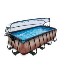 Exit - Schwimmbad - 4x2x1m - Premium - Holz Optik + Sonnendach