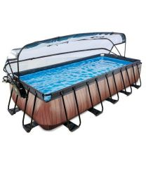 Exit - Schwimmbad - 5.4x2.5x1m - Premium - Holz Optik + Sonnendach