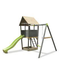 Exit - Aksent Holzspielturm Mit 1-Sitziger Schaukel- Grau