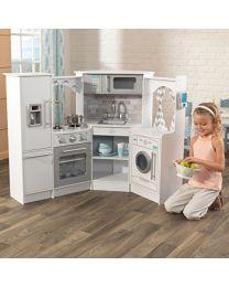 KidKraft - Wooden Kids Küche Ultimate Corner mit Licht und Sound - Weiß