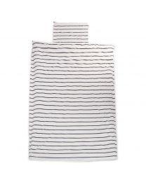 Childhome - Bettwäsche Junior und Kissenbezug - 140x200 cm - Jersey Marin