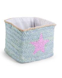 Childhome - Natürliche Box Aus Maisblätter Stern und Wolke - 30x33x33 cm - Mint