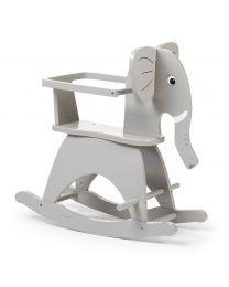 Childhome - Elephant und Klammer - Grau - Hölzernes Schaukelpferd