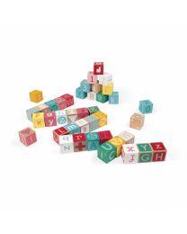 Janod - Kubix - 40 Bausteine Holz Buchstaben + Zahlen