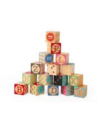 Janod - Kubix - 16 Bausteine Holz Buchstaben