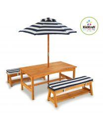 Kidkraft - Möbelset: Tisch, 2 Bänke und Sonnenschirm