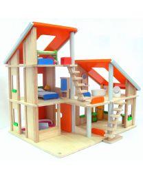 Plan Toys - Chalet Puppenhaus mit Möbeln - Holz