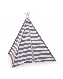 Childhome - Tipi Spielzelt mit Streifen - Grau/Weiẞ