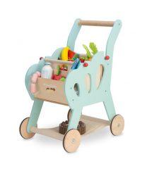 Le Toy Van - Einkaufswagen aus Holz mit Stofftasche